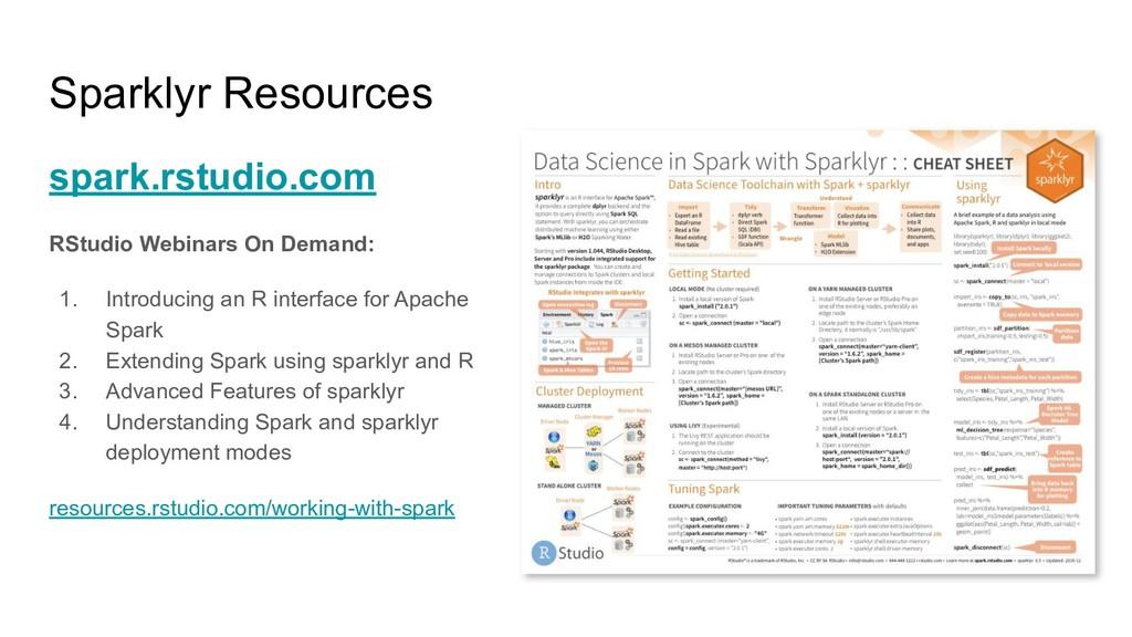 Sparklyr Resources spark.rstudio.com RStudio We...