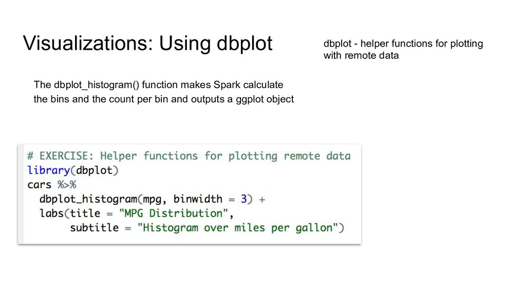 Visualizations: Using dbplot dbplot - helper fu...