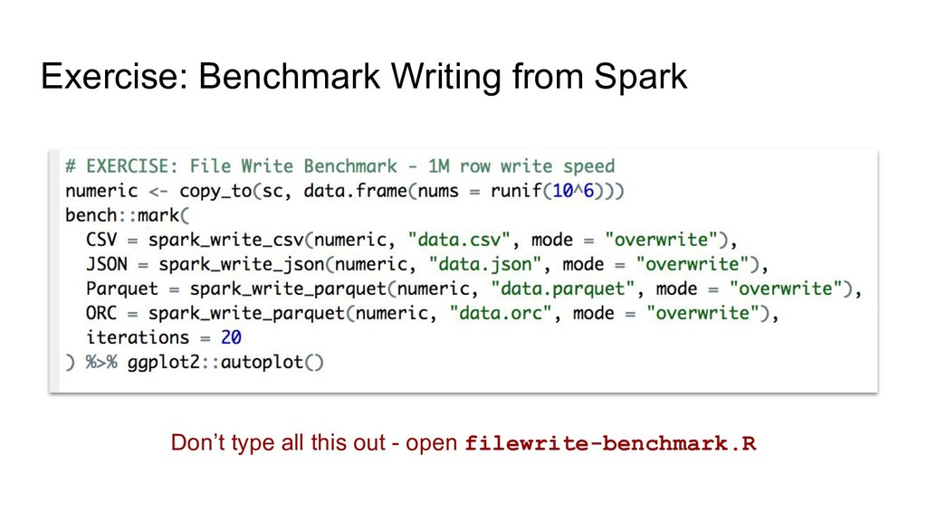Exercise: Benchmark Writing from Spark Don't ty...