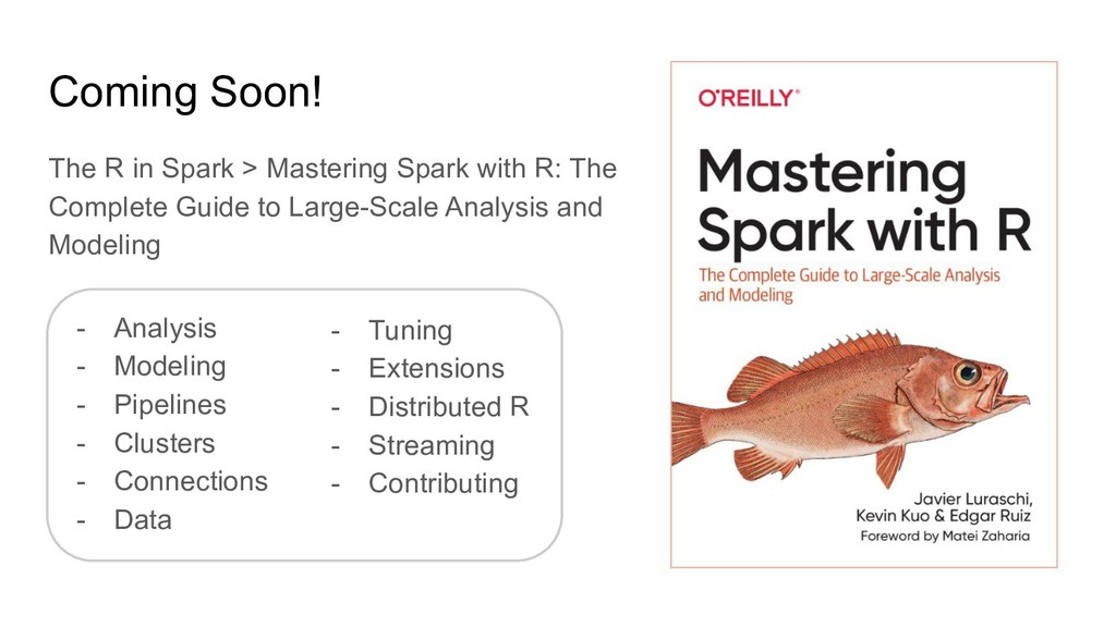 Coming Soon! The R in Spark > Mastering Spark w...