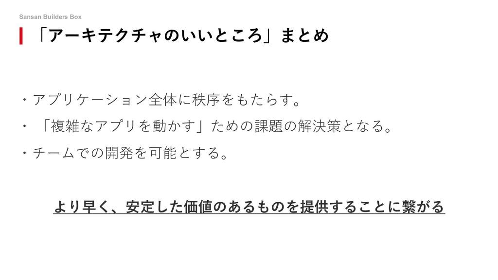 Sansan Builders Box 「アーキテクチャのいいところ」まとめ ・アプリケーショ...
