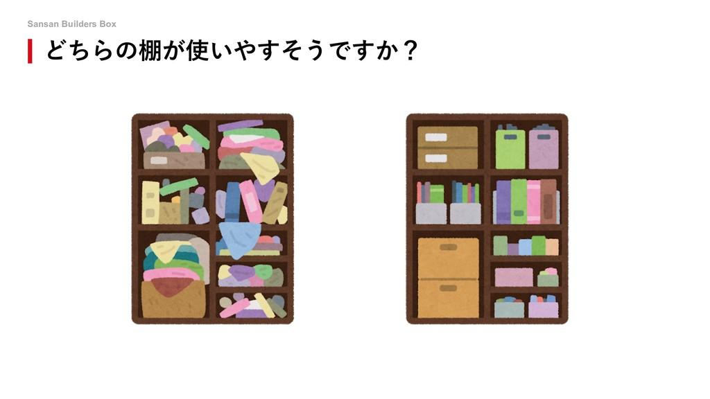 Sansan Builders Box どちらの棚が使いやすそうですか?
