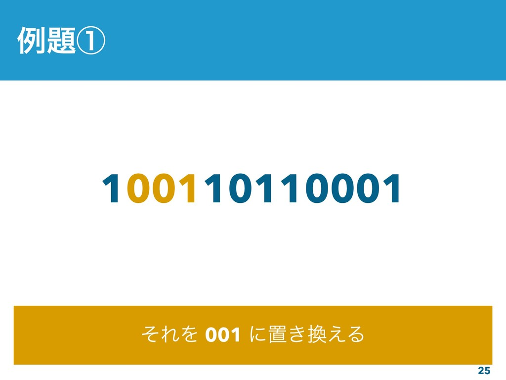 25 100110110001 ͦΕΛ 001 ʹஔ͖͑Δ ྫᶃ