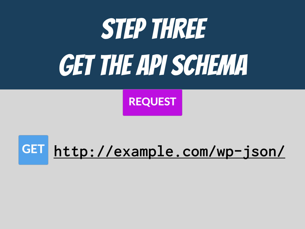 STEP THREE  GET the API ScHEMA http://example.c...