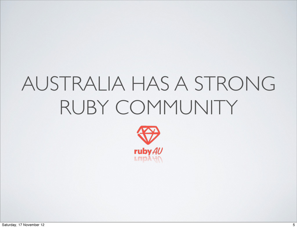 AUSTRALIA HAS A STRONG RUBY COMMUNITY 5 Saturda...