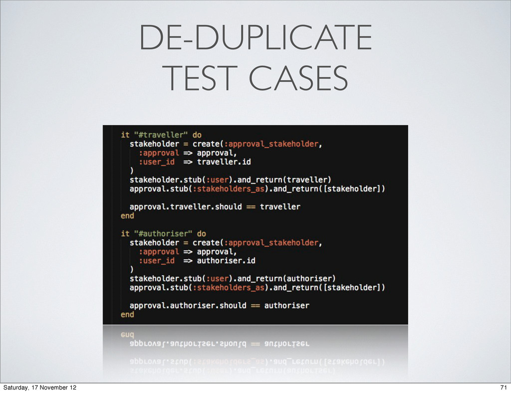 DE-DUPLICATE TEST CASES 71 Saturday, 17 Novembe...