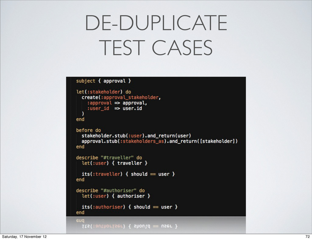 DE-DUPLICATE TEST CASES 72 Saturday, 17 Novembe...