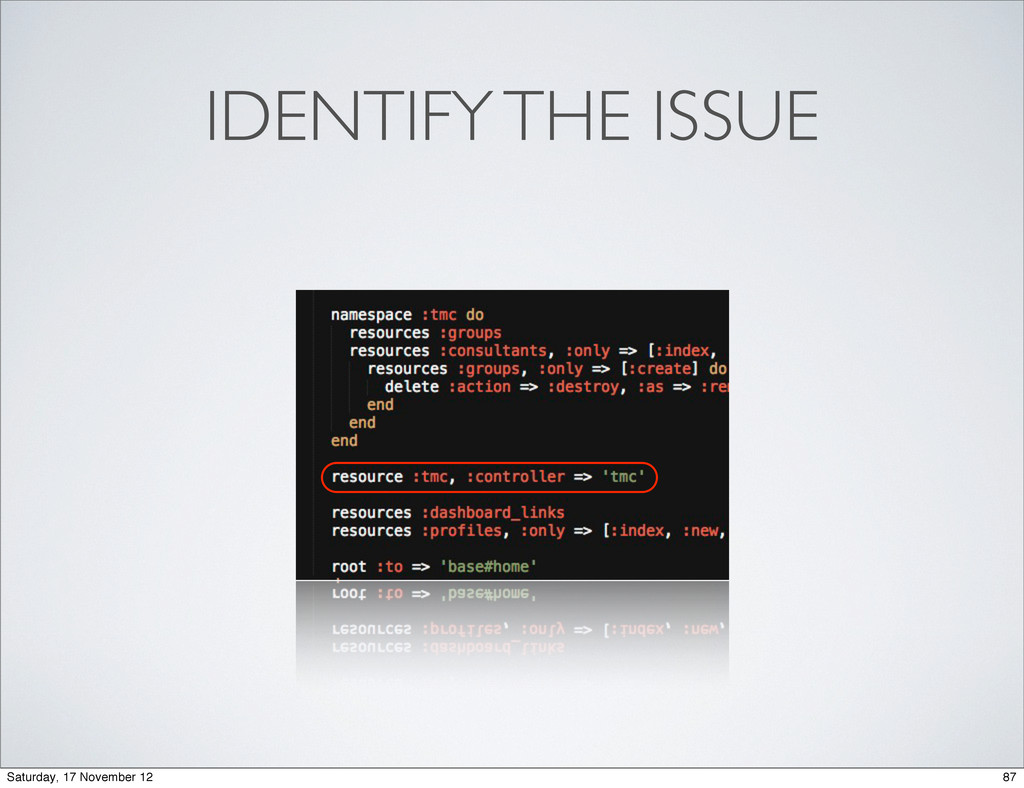 IDENTIFY THE ISSUE 87 Saturday, 17 November 12