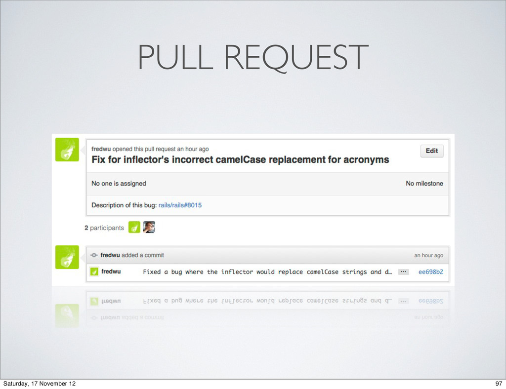 PULL REQUEST 97 Saturday, 17 November 12