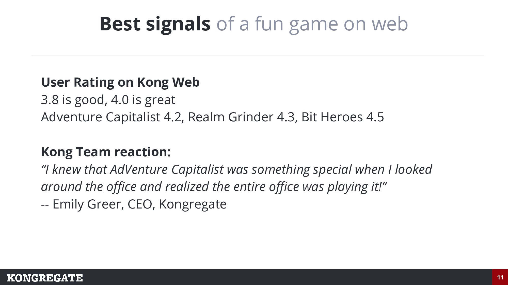 11 Best signals of a fun game on web User Ratin...