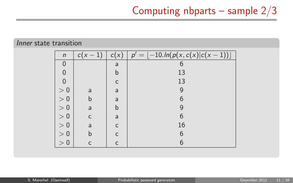 Computing nbparts – sample 2/3 Inner state tran...
