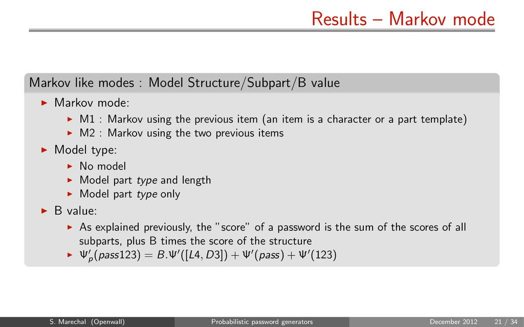 Results – Markov mode Markov like modes : Model...