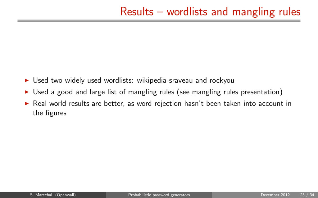 Results – wordlists and mangling rules Used two...