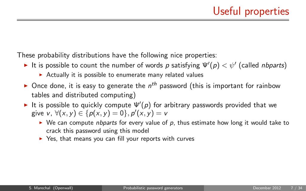 Useful properties These probability distributio...
