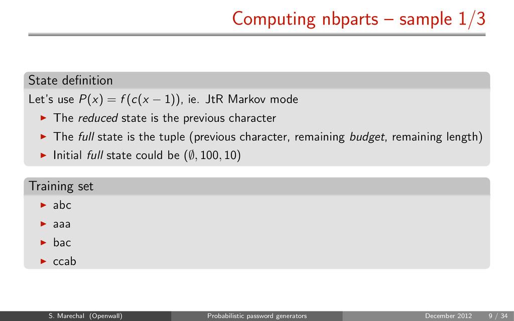 Computing nbparts – sample 1/3 State definition ...