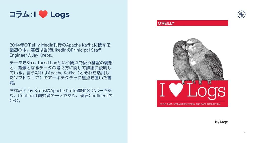 16 コラム:I ♥ Logs 2014年O'Reilly Media刊行のApache Ka...