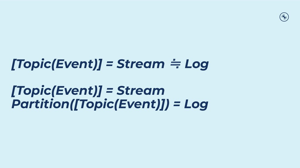[Topic(Event)] = Stream ≒ Log [Topic(Event)] = ...