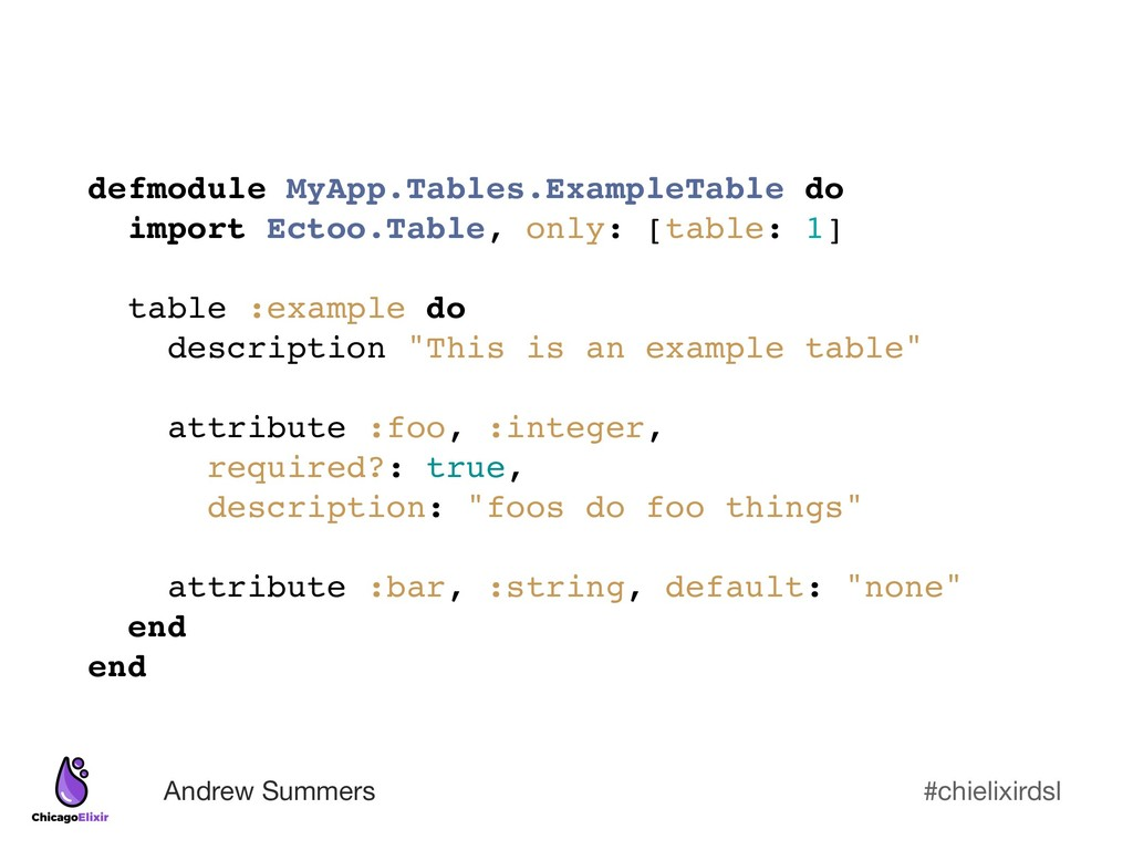 #chielixirdsl Andrew Summers defmodule MyApp.Ta...