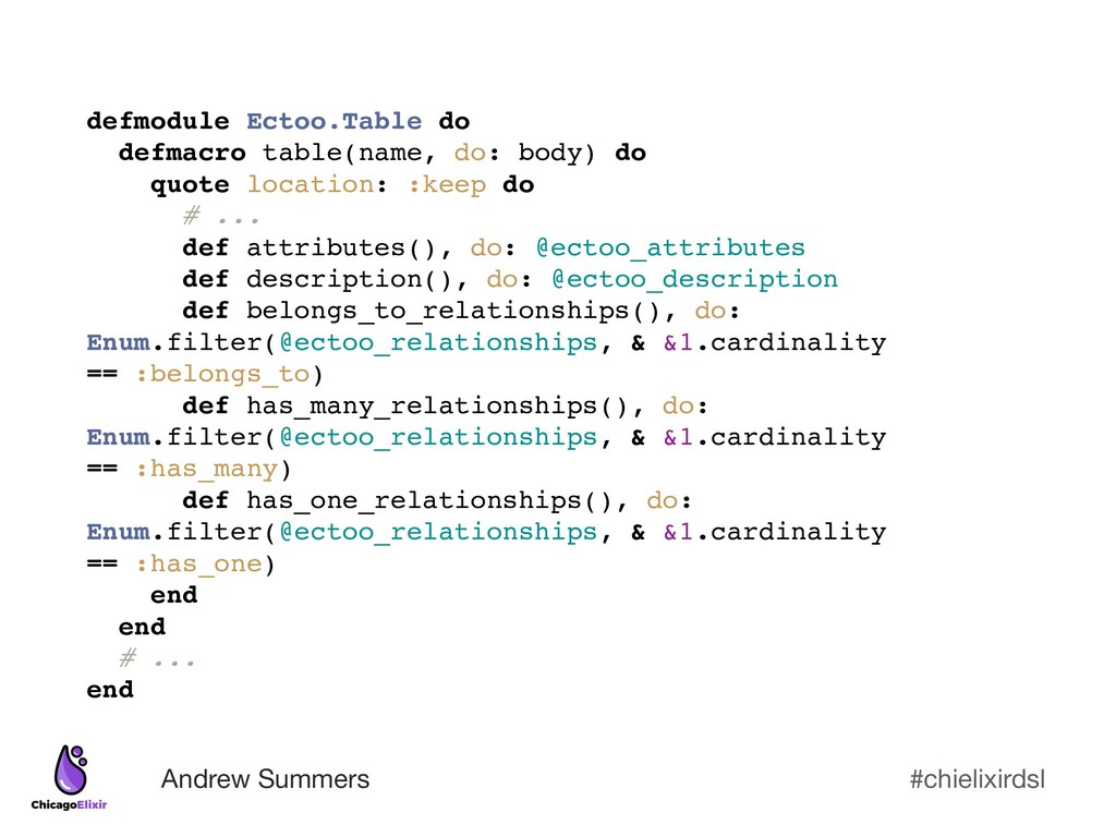 #chielixirdsl Andrew Summers defmodule Ectoo.Ta...