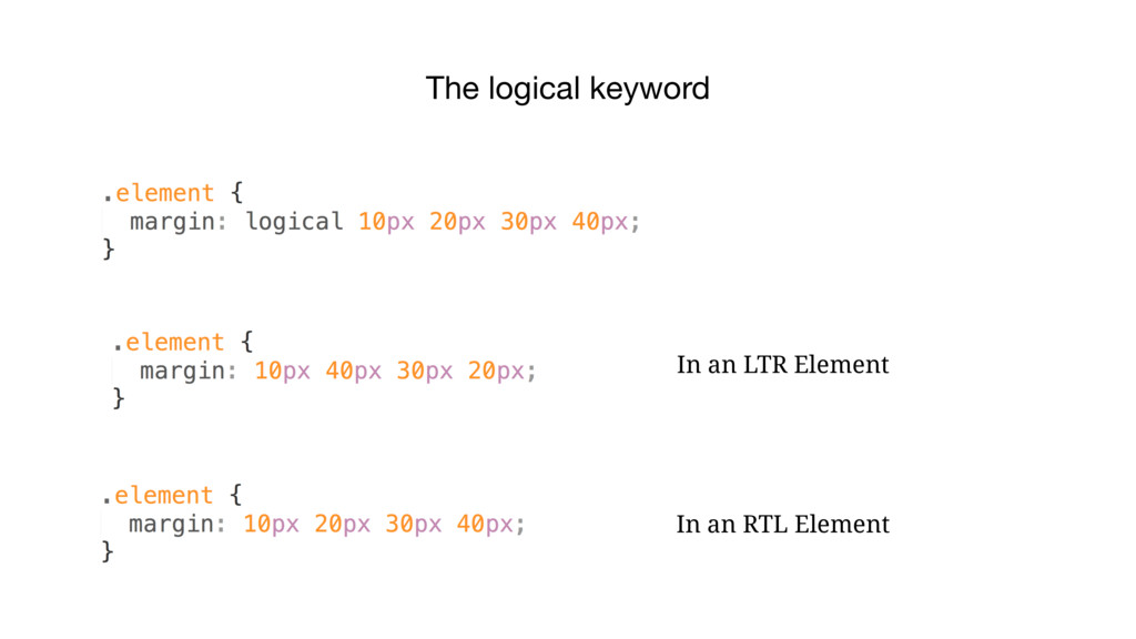 The logical keyword In an LTR Element In an RTL...