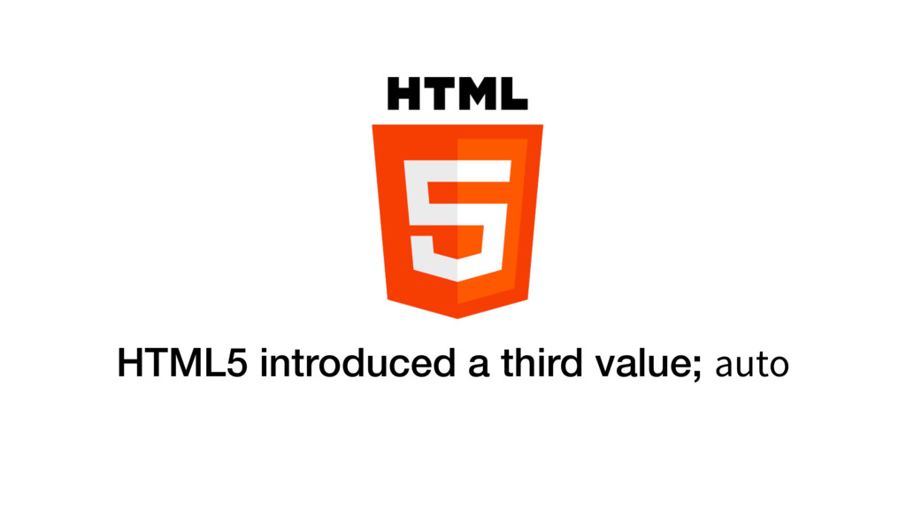 HTML5 introduced a third value; auto