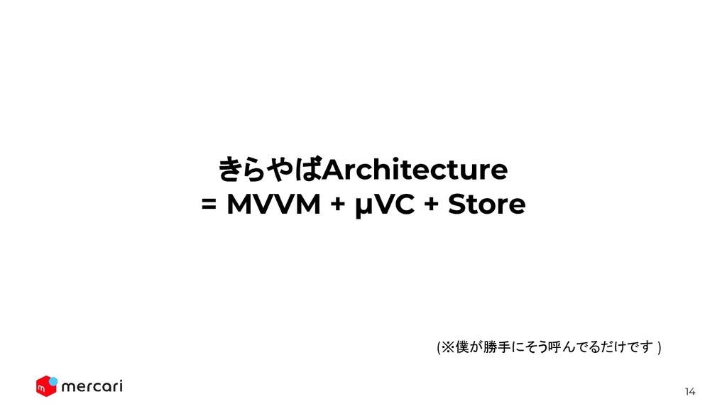 14 きらやばArchitecture = MVVM + μVC + Store (※僕が勝手...