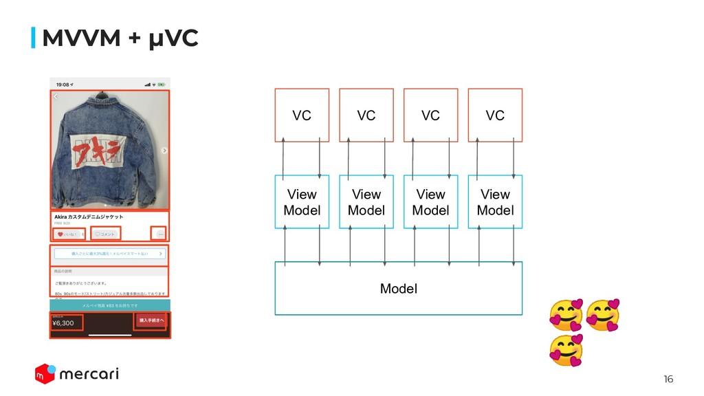 16 MVVM + μVC VC View Model Model   View Model ...