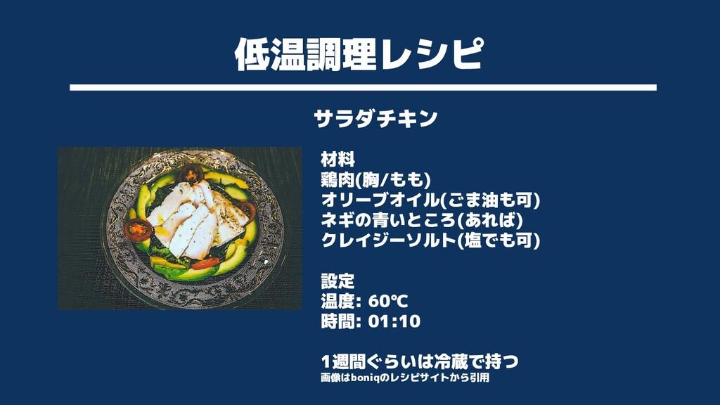 低温調理レシピ サラダチキン 材料 鶏肉(胸/もも) オリーブオイル(ごま油も可) ネギの青い...
