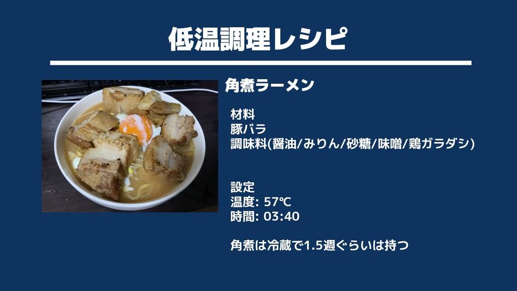 低温調理レシピ 角煮ラーメン 材料 豚バラ 調味料(醤油/みりん/砂糖/味噌/鶏ガラダシ) 設...
