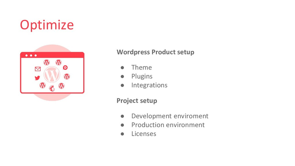 Optimize Wordpress Product setup ● Theme ● Plug...