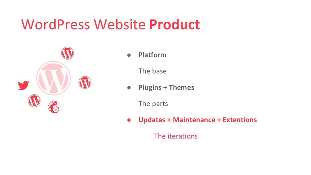 WordPress Website Product ● Platform The base ●...