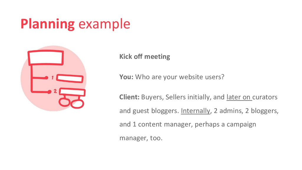 Planning example Kick off meeting You: Who are ...