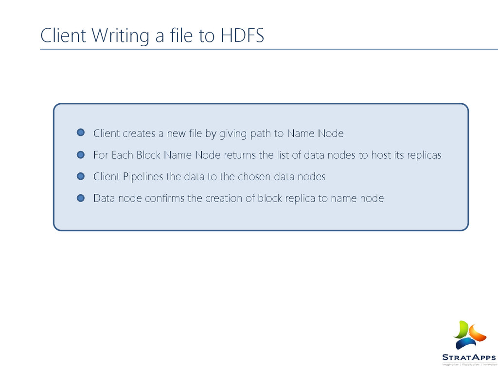 Client Writing a file to HDFS Client creates a ...