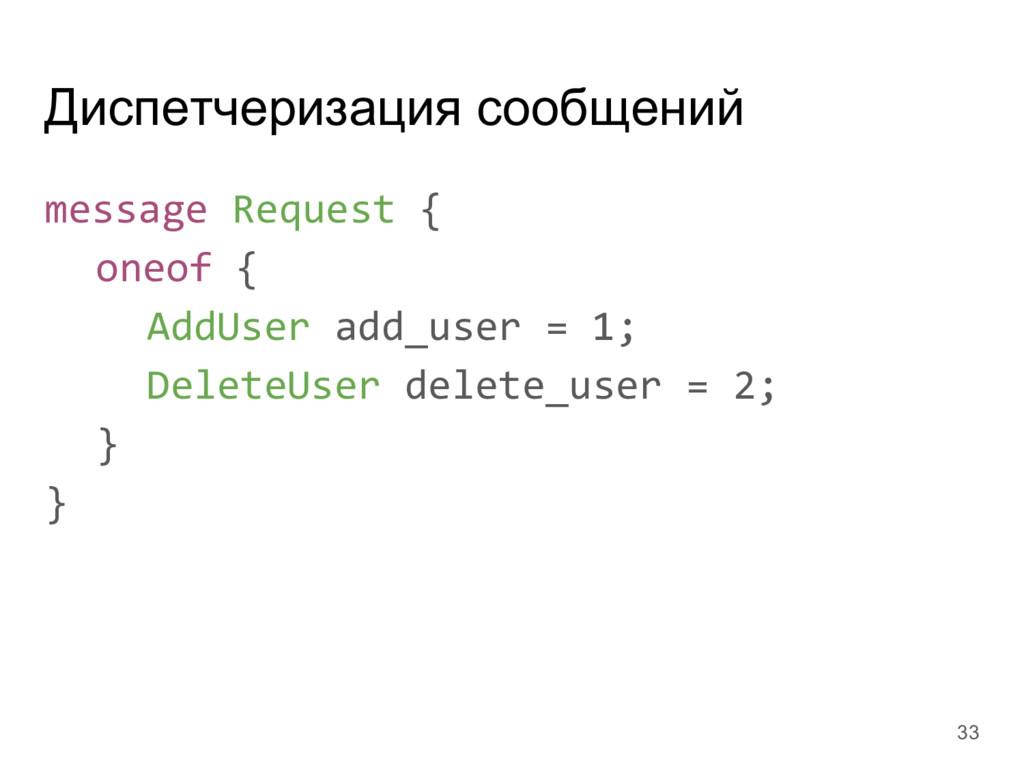 Диспетчеризация сообщений message Request { one...