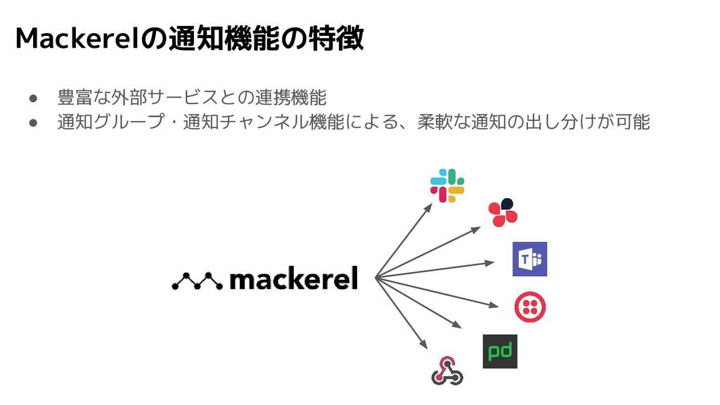 Mackerelの通知機能の特徴 ● 豊富な外部サービスとの連携機能 ● 通知グループ・通知チ...