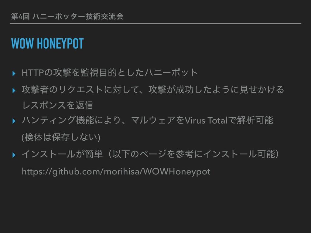 ୈ4ճ ϋχʔϙολʔٕज़ަྲྀձ WOW HONEYPOT ▸ HTTPͷ߈ܸΛࢹతͱͨ͠...