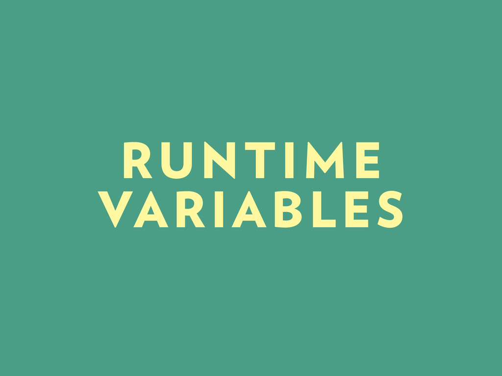 RUNTIME VARIABLES
