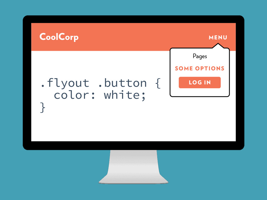 CoolCorp MENU SOME OPTIONS Pages LOG IN .flyout...