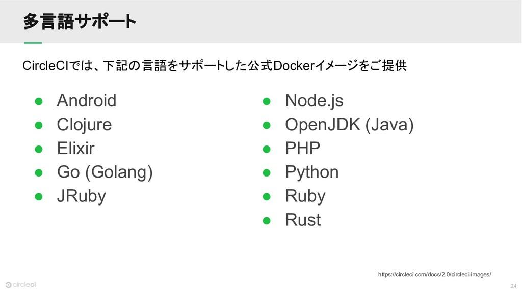 24 多言語サポート ● Android ● Clojure ● Elixir ● Go (G...