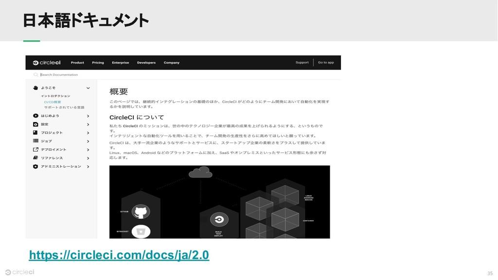 35 日本語ドキュメント https://circleci.com/docs/ja/2.0