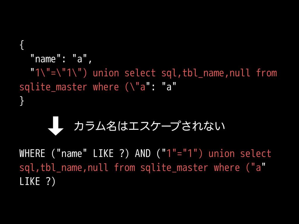 "{ ""name"": ""a"", ""1\""=\""1\"") union select sql,tbl..."
