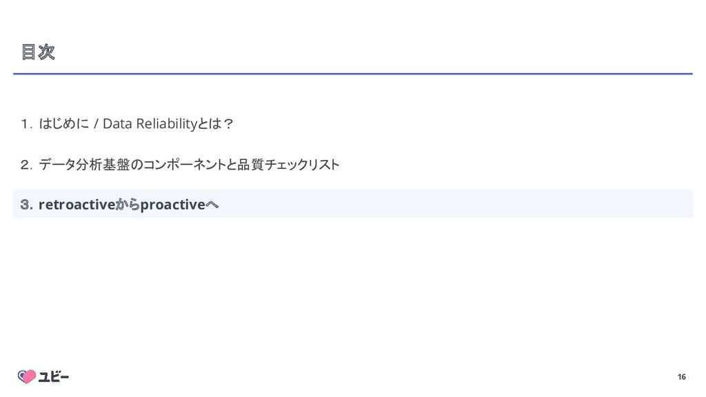 16 目次 1.はじめに / Data Reliabilityとは? 2.データ分析基盤のコン...