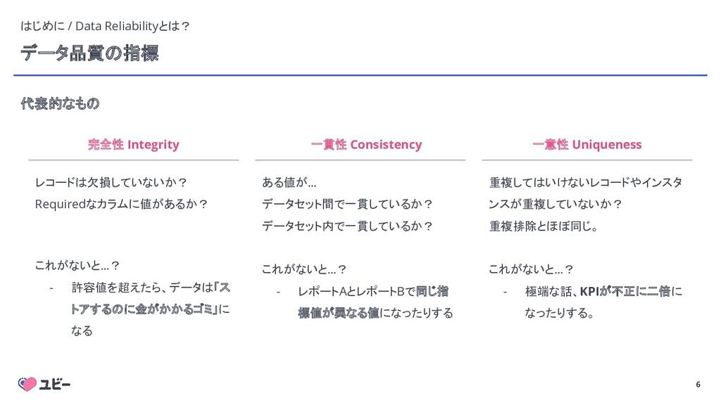 6 データ品質の指標 代表的なもの 6 完全性 Integrity レコードは欠損していないか...
