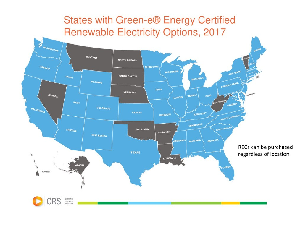 States with Green-e® Energy Certified Renewable...
