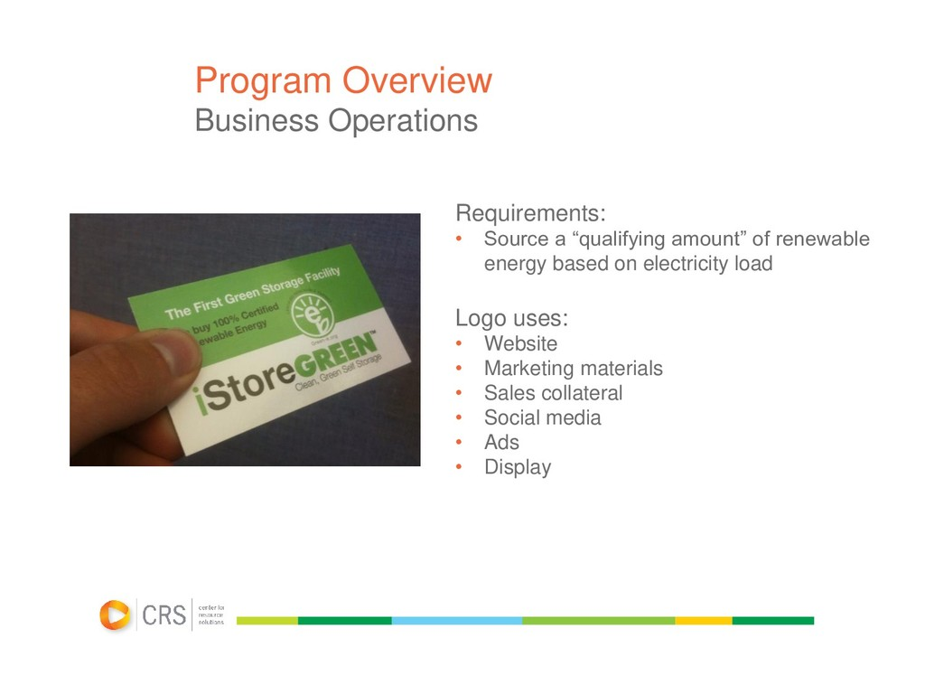 Program Overview Business Operations Requiremen...