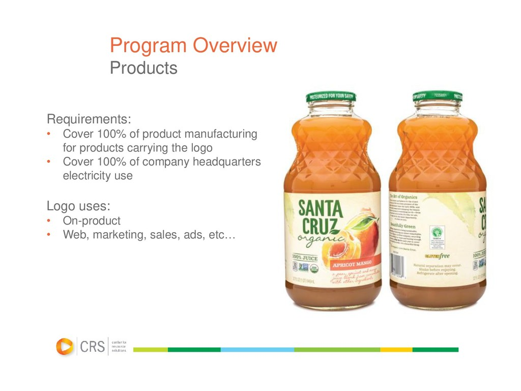 Program Overview Products Requirements: • Cover...