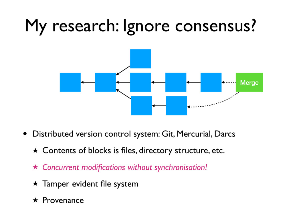 My research: Ignore consensus? • Distributed ve...