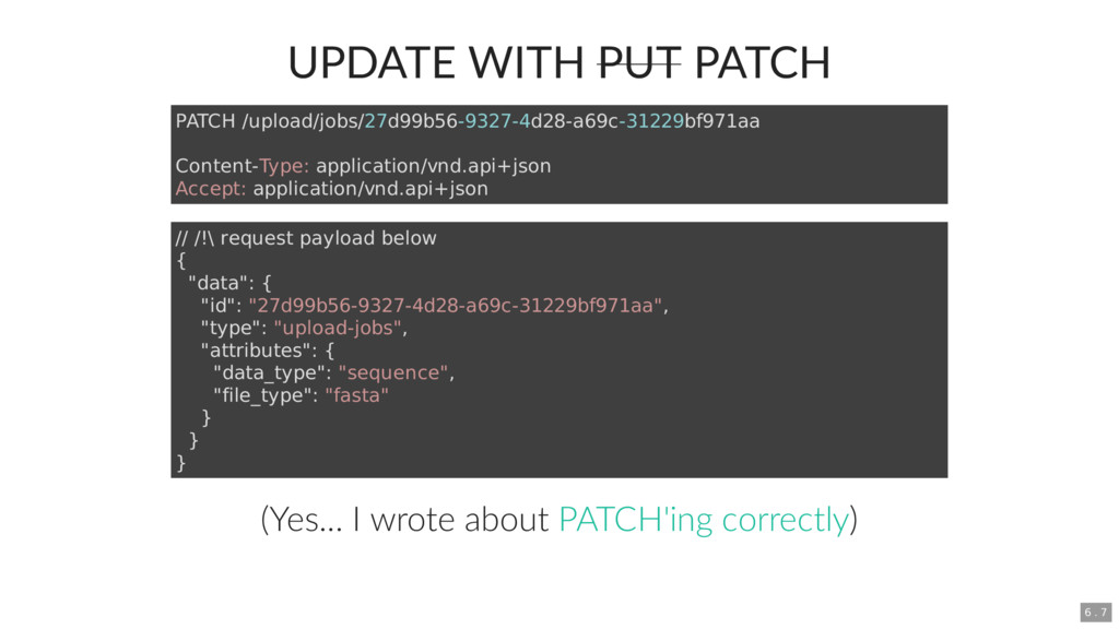 UPDATE WITH PUT PATCH (Yes... I wrote about ) P...