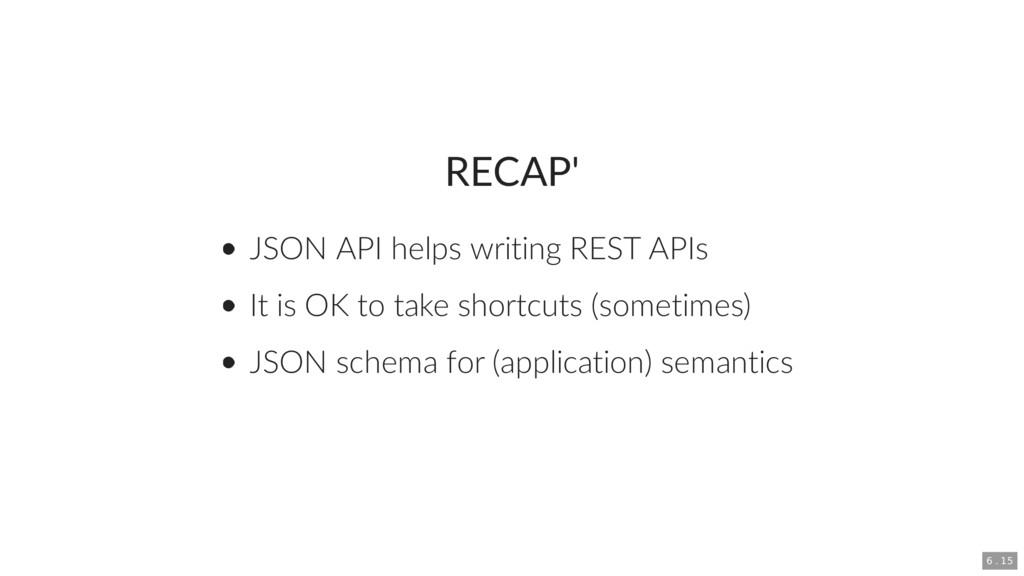 RECAP' JSON API helps writing REST APIs It is O...
