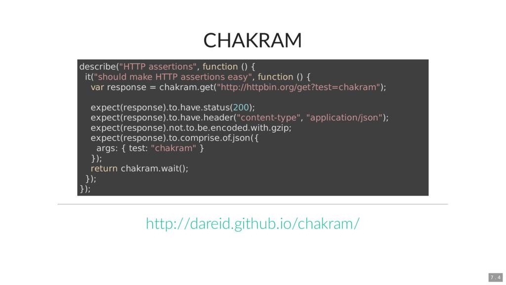 "CHAKRAM describe(""HTTP assertions"", function ()..."